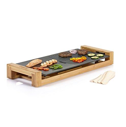 Princess Bambus Tischgrill/ Teppanyaki Grill - mit flacher und geriffelter Grillplatte (50x25cm) und 4 Holzspatel, 103025