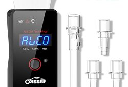 Oasser Alcootest Professionnel Ethylotest à capteur de piles à combustible avec Affichage Numérique LCD Batterie Intégrée Rechargeable 4 Embouts Achat