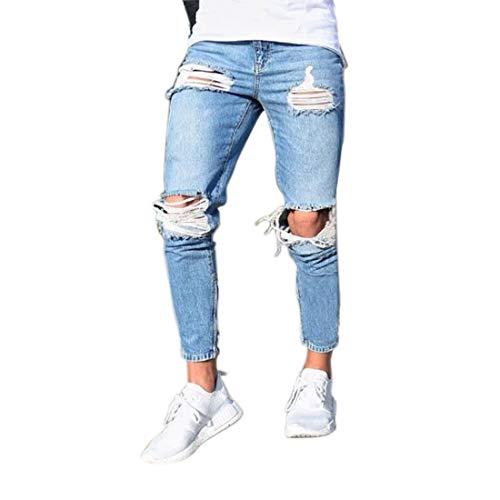 Inlefen Lo Stile Maschile Elasticità Cavo Stretto Equitazione Vita Bassa Jeans Distruggere vestibilità Slim Jeans