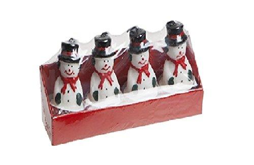 Pack von 4 - 3D Schneemann Teelicht Kerzen - Weihnachtskerzen - Weihnachten Tischdekoration