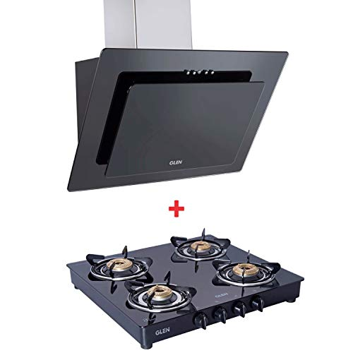Glen 60Cm 1000 M3/Hr Black Glass Chimney with Glen 1043 GT Brass Burner Black Cooktop Combo