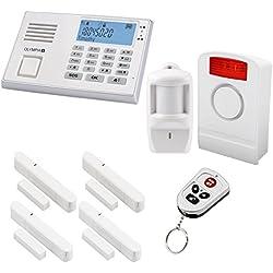 Olympia Protect 9061 Weiß GSM Funk Alarmanlage Super-Set mit Bewegungsmelder, Außensirene, Tür/Fensterkontakten und Fernbedienung