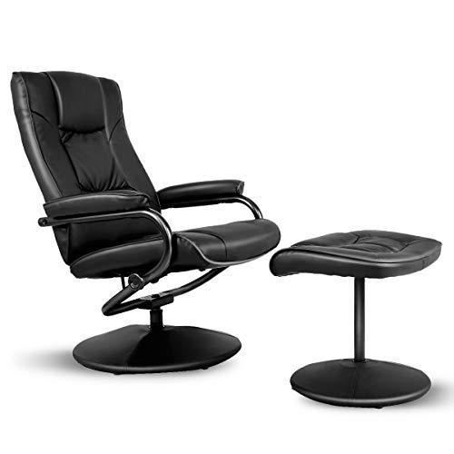 COSTWAY Relaxsessel mit Hocker, Fernsehsessel Leder, Liegesessel Ergonomisch, Relaxstuhl drehbar, Schaukelstuhl 150°Kippbar, TV Sessel Set Schwarz, Entspannungsstuhl
