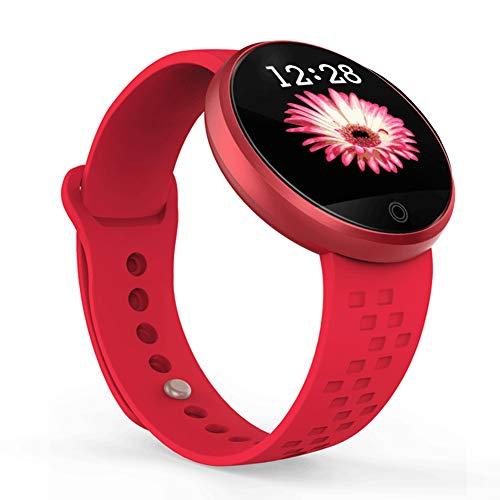 Reloj deportivo para mujer con monitor de sueño, monitor de ritmo cardíaco, consumo de calorías, alarma de frecuencia cardíaca, rojo