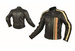 RIDER-TEC Blouson Moto Cuir Vintage Homologué CE-13595, Noir/Orange, L Offre de prix