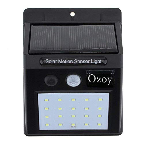 Ozoy Solar Wireless Security Motion Sensor Night Light -20 LEDs Bright and Waterproof for Outdoor/Garden Wall, Pack of 20 LED (Medium, Black)
