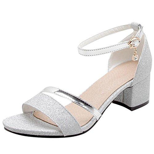 206b53f47e9d4f Artfaerie Damen Open Toe Riemchen Sandaletten mit Pailletten und Schnalle  Blockabsatz Glitzer Pumps Bequem Schuhe