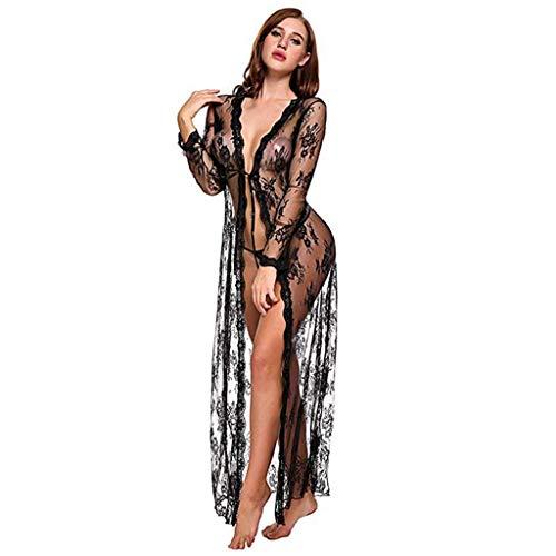Camisón Sexy para Dormir,YiYLunneo Encaje Nightdress Cardigan Sleepwear Traje de Bata Pijamas Vestidos Largos De Mujer Lingerie