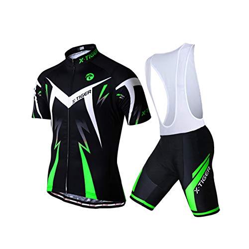 X-TIGER Ciclismo Maillots para Hombres con Tirantes Manga Corta Transpirable Secado Rápido con 5D Acolchado Gel Culotes Culotte Pantalones Cortos (Verde,XL)