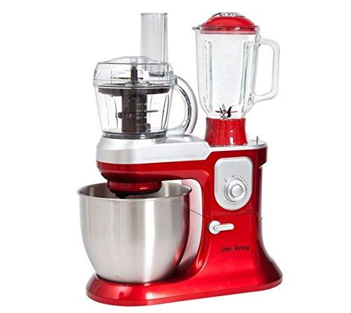 Innoliving INN-721 Impastatrice con Frullatore e Robot da Cucina, 1200 W, 6.5 Litri, Rosso