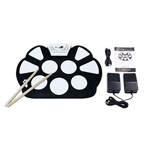 V.TOP Kit De Pad De Batería Electrónica Roll-up Silicona Portátil Plegable Con Palanca Y Pedal De Pie