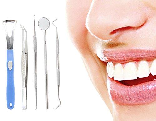 Xcellent Global Kit de 5 outils médicals d'hygiène dentaire de grande qualité, instruments professionnels de dentiste en Acier inoxydable av... 26