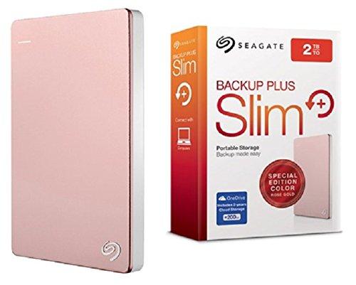 Seagate Backup Plus Slim 2TB Portable External Hard Drive with Mobile Device Backup USB 3.0 Rose Gold (STDR2000309)