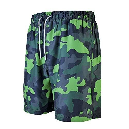 VINTAGE BASICS Herren Badehose - Schnelltrocknende Boardshorts - Schwimmhose mit Taschen und Innenhose - Kordelzug - Camouflage 3XL