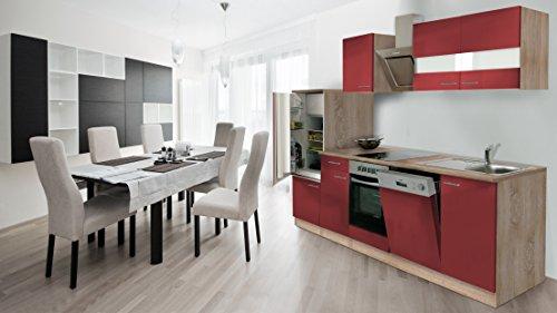 respekta Incasso cucina cucina riga 280cm Rovere sonoma grezzo Front rosso con nastro Designer...
