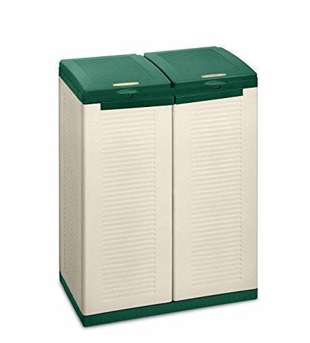 Terry Ecocab 2 Armadio in Plastica per Raccolta Differenziata, Beige/verde, 68 x 39 x 88.7 cm