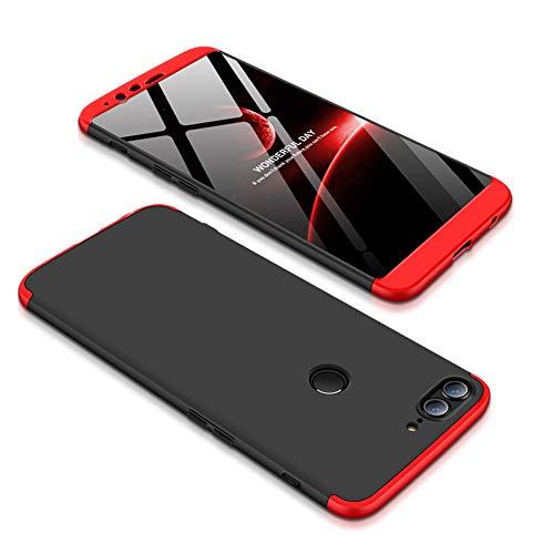 JMGoodstore Funda Oneplus 5T,Carcasa Oneplus 5T,Funda 360 Grados Integral para Ambas Caras+Cristal Templado,[360°] 3 in 1Slim Fit Dactilares Protectora Skin Caso Carcasa Cover Rojo+Negro