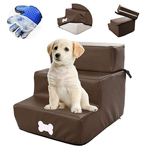 3 Schritte Hundetreppe, Abnehmbares Ledergewebe, ZusäTzliches Geschenk Handschuh Zur Pflege Der Tierhaare,Dreischichtige Und Zweischichtige Freie Montage,
