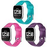 HUMENN Bracelet pour Fitbit Versa/Fitbit Versa Lite, Bande en TPU Silicone Souple de Remplacement Ajustable Sport Accessorie pour Fitbit Versa Montre Wristband Grand Turquoise+Rose+Prune