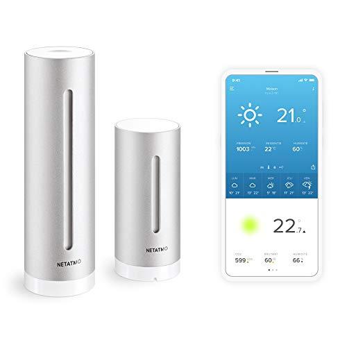 Netatmo Station Météo Intérieur Extérieur Connectée Wifi pour Smartphone, Capteur Sans fil, Thermomètre, Hygromètre, Baromètre, Sonomètre, Qualité de l'air - Compatible avec Amazon Alexa, NWS01-EC