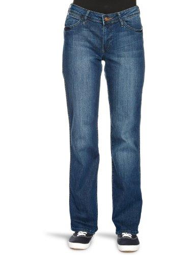 Wrangler Damen Straight Leg Jeanshose SARA, Blau (SCUFFED INDIGO 18),...