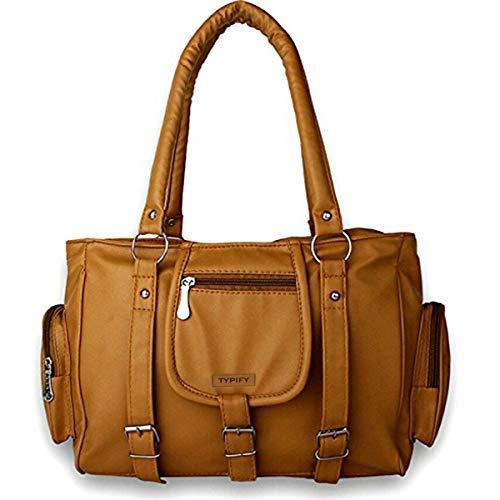 Typify Women's Leatherette PU Handbag with Sling Belt (Tan)