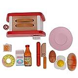 Boquite Kinderküchenspielzeug, Kinder täuschen Spiel vor, das hölzernes Toaster-Brot-Hersteller-Set kocht(Toaster-Set)