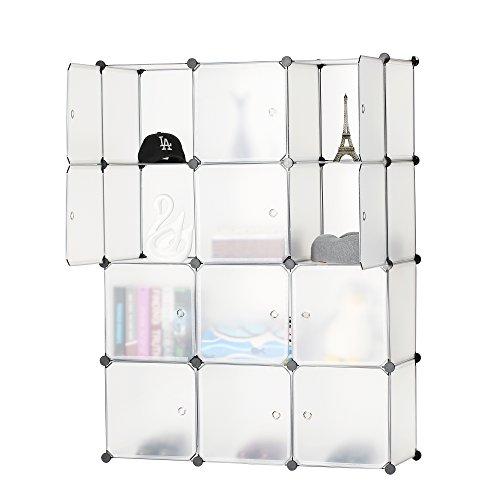 BASTUO 12 cubi DIY mobiletto libreria Ripiani modulari cubi, Armadio per Giocattoli Libri, Vestiti,...