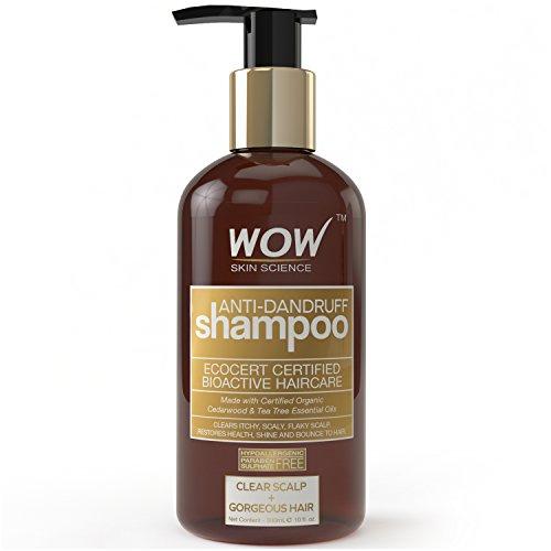 WOW Anti Dandruff Shampoo - 300 mL - No Sulphate - No Parabens - infused with Organic Cedarwood & Tea Tree Essential Oil