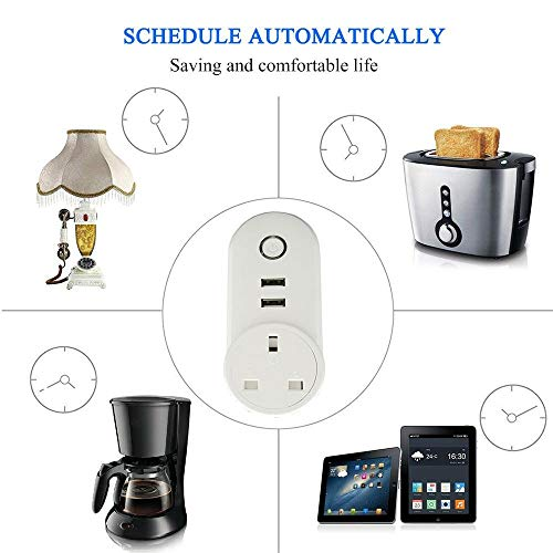 ATOMICO Voyant Lumineux Smart Plug avec minuterie USB Prise de commutateur WiFi Prise de télécommande Commande avec Amazon Alexa/Echo/Google... 25