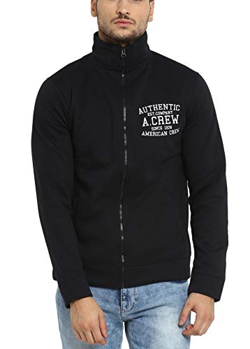 AMERICAN CREW Men's Solid Full Sleeves Black Zipper Jacket with Applique (ACJK09_Black_L)