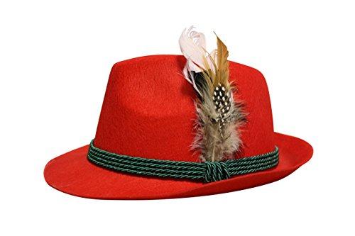 Trachten Filzhut mit echter Feder, Farbe rot
