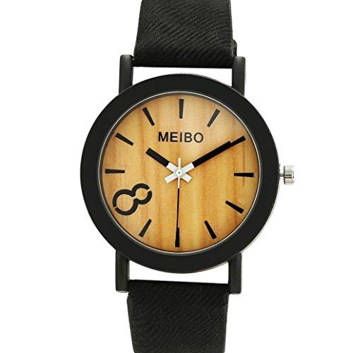 Longra Reloj Reloj Neutro Reloj de Cuarzo Simple Reloj de Cuarzo (Negro)