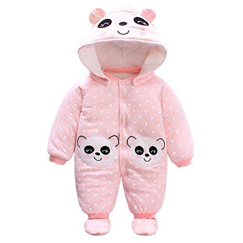 Bambino Ragazze Pagliaccetto con Cappuccio Scarpe Tute da neve Jumpsuit Inverno Caldo Tutine Set, Panda 0-3 Mesi