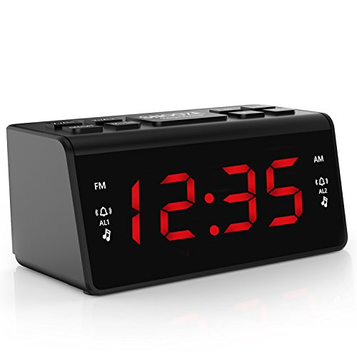 Digital FM AM Radiowecker Uhr Mit Nachtlicht-Funktion, Easy Snooze, Dual Alarm, Sleep-Timer - Anpassbare Helligkeitsregulierung (AT-48)