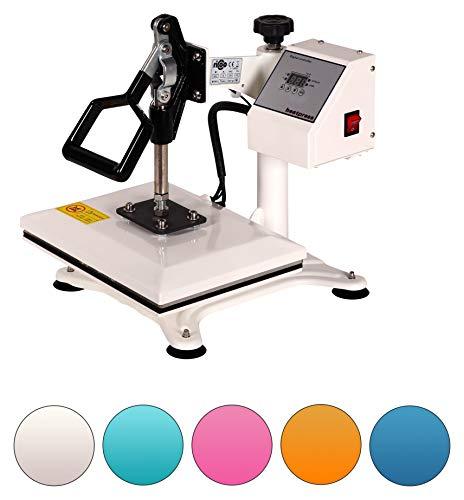 RICOO Power Zwerg-TW Transferpresse Textilpresse Textildruckpresse Schwenkbar Thermopresse Transferdruck Bügelpresse Textil T-Shirtpresse Sublimationspresse für Flexfolie und Flockfolie | Weiß