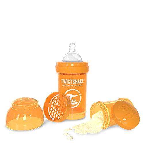 Twistshake Biberón anticólicos con mezclador - Naranja - Talla:180 ml