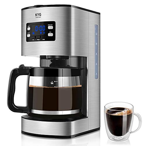 KYG Macchina Caffè Americano Macchina per Caffè Programmabile Macchina da Caffè 1000W con Timer Filtri Caffe Americano fino a 1,8 L/Nero