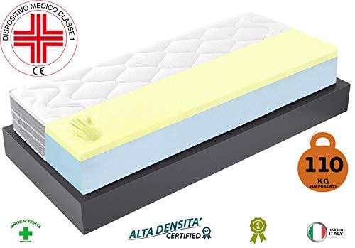 Materasso Singolo, materasso dispositivo medico singolo 80x190 cm h25 cm reali 5 cm di memory doppio...