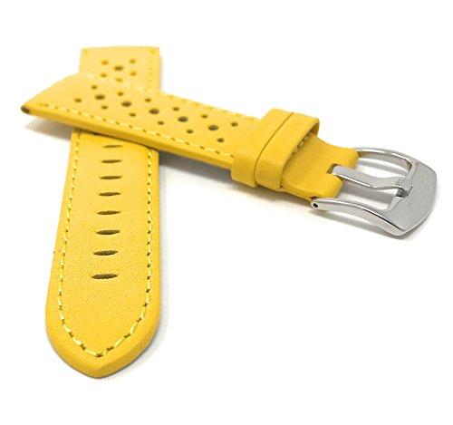 Extra lungo (XL) 20mm Cinturino orologio in vera pelle, uomo, giallo, forato, Stile GT Rally, fibbia...