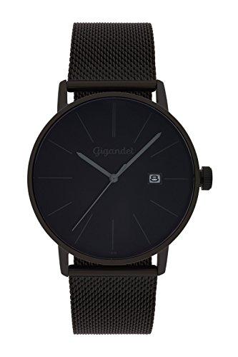 Gigandet Herren-Armbanduhr Quarz Analog Milanaise Edelstahlarmband schwarz Minimalism G42-007