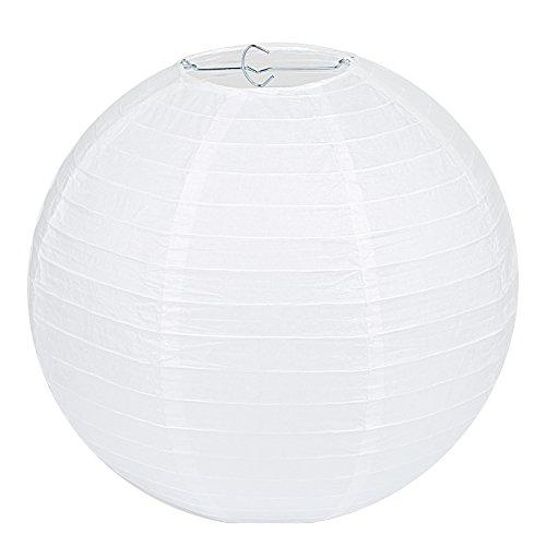 """LIHAO 10\"""" weiße Papier Laterne Lampion rund Lampenschirm Hochtzeit Party Dekoration Ballform (10er Packung)"""