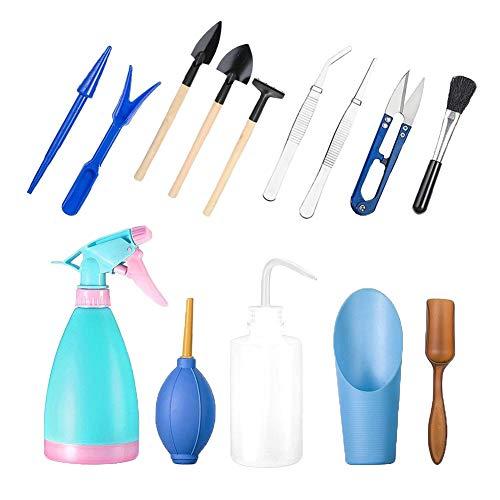 Star SSTO conjunto de herramientas de jardiner�a, 14 piezas, Mini-conjunto de herramientas de mano, madera purificada, herramientas para plantas suculentas, macetas, bons�is