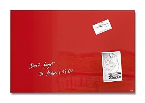 SIGEL GL122 Lavagna magnetica di vetro/bacheca di vetro Artverum, rossa, 60 x 40 cm