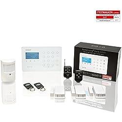 Safe2Home® Funk Alarmanlagen Set SP110 mit Sabotageschutz – deutschsprachiges GSM Alarmsystem SMS Alarmierung etc. - Alarmanlagen fürs Haus Büro inkl. Zubehör und Sensoren z.B. Bewegungsmelder