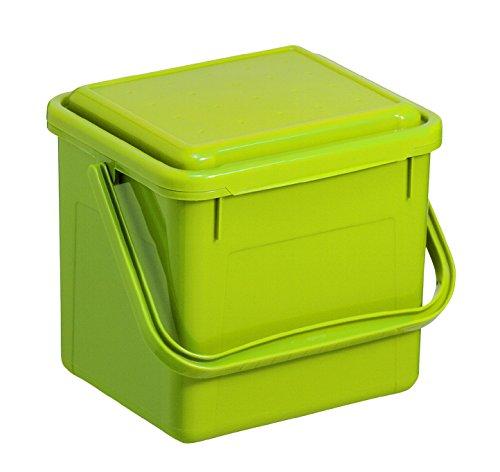Rotho Bio Komposteimer 4.5 l für die Küche, Kunststoff (PP), grün, 4.5 Liter (21 x 20 x 18 cm)