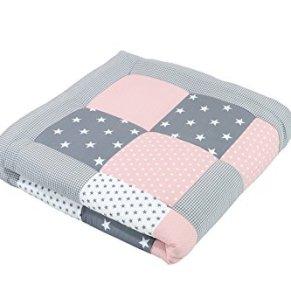 Alfombra para gatear de ULLENBOOM ® con rosa gris (manta para bebé de 100x100 cm; ideal como colcha para el cochecito; apta como alfombra de juegos)