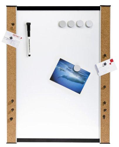 Genie - Lavagna bianca magnetica da muro, con bordi in sughero, utilizzabile con pennarelli, magneti...