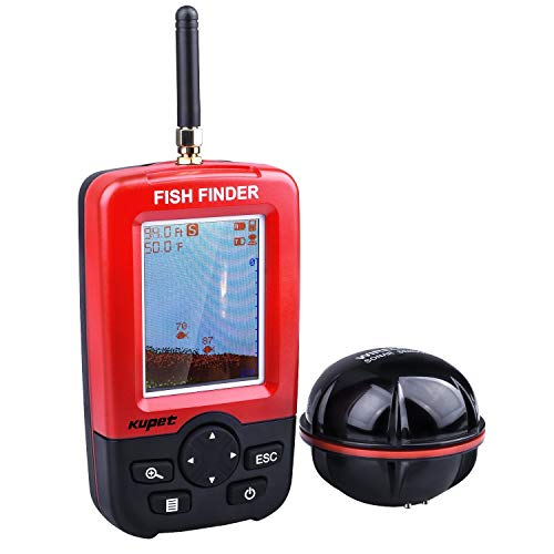 Kupet Fishing Gear,Portable Wireless Sonar Sensor Fish Attractor and Fish Finder with Colorful Display