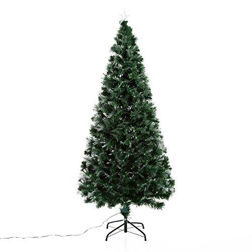 HOMCOM Albero di Natale Artificiale 180cm in PVC Fibre Ottiche Foltissimo con 230 Luci a LED Φ84 Verde